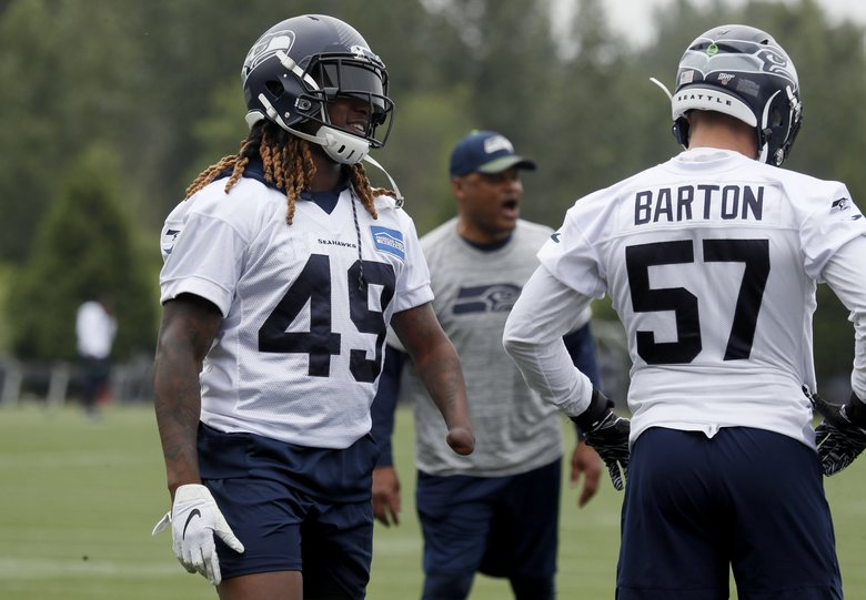 Shaquem Griffin (49) practices at Virginia Mason Athletic Center in Renton, Wash. Wednesday, May 29, 2019. (Erika Schultz / The Seattle Times)