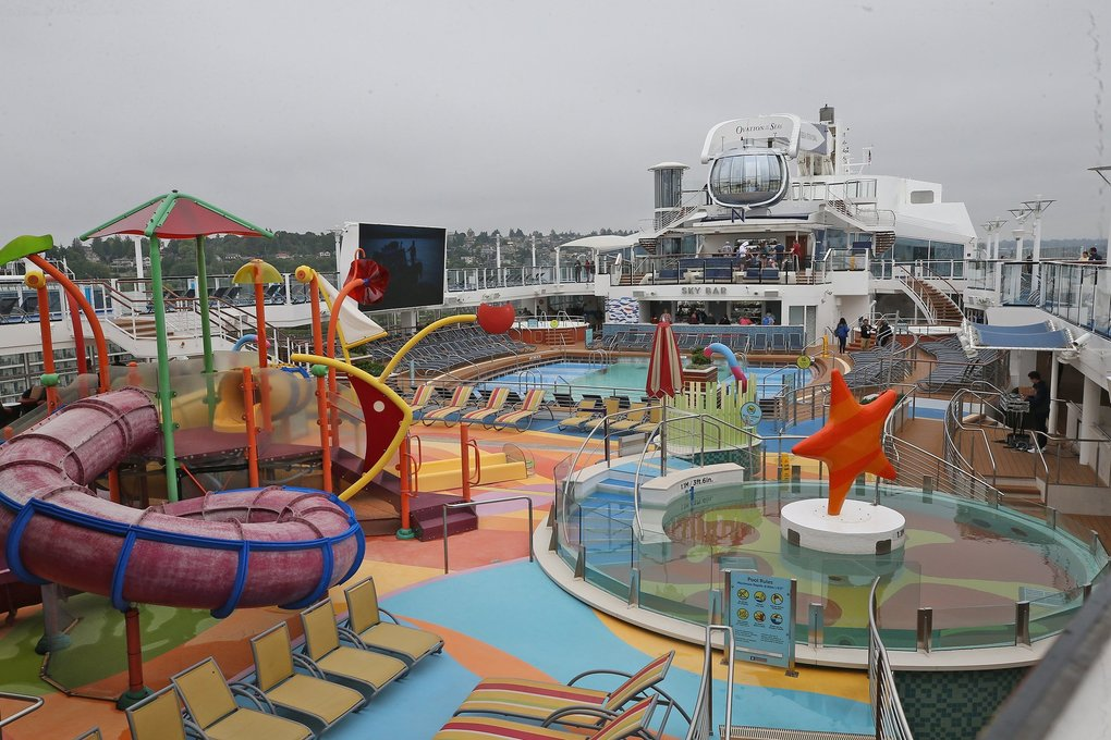 The ship is designed to be kid friendly, with one of two outdoor pools created with kids in mind. There's also an adults-only pool. The ship has four pools, two outdoor and two indoor, plus four whirlpools. (Greg Gilbert / The Seattle Times)