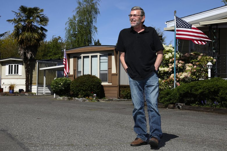 Chuck Gippe is a 30-year resident of Inglewood East, one of six mobile-home parks the City of Kenmore recently voted to protect from redevelopment for at least 10 years.  (Ken Lambert / The Seattle Times)