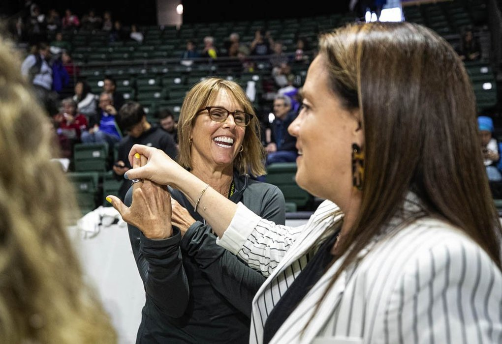 Storm CEO Alisha Valavanis covers up the Championship ring worn by co-owner Ginny Gilder as everyone in the organization gets ready to celebrate the Storm's 2018 Championship with a ring ceremony at Angel of the Winds Arena.  The Phoenix Mercury played the Seattle Storm in the WNBA opener Saturday, May 25, 2019 at Angel of the Winds Arena in Everett, WA. (Dean Rutz / The Seattle Times)