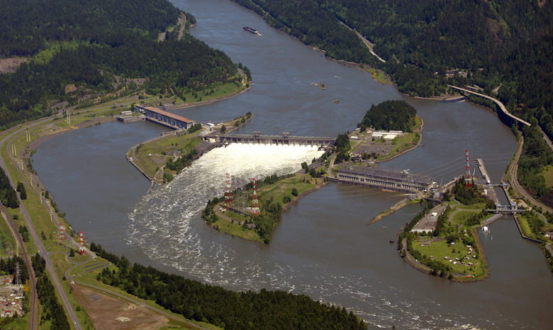 The Bonneville Dam on the Columbia River near Cascade Locks, Ore.  Negotiations between the U.S. and Canada are underway to re-authorize the landmark Columbia River Treaty, which affects the economy, environment, and flood control needs of millions of residents of the four states along more than 1,200 miles of the Columbia River and its tributaries. (Rick Bowmer AP, File)