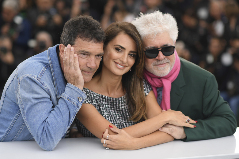 Actors Antonio Banderas, from left, Penelope Cruz and director Pedro Almodovar pose for photographers at the photo call for the film 'Pain and Glory' at the 72nd international film festival, Cannes, southern France, Saturday, May 18, 2019. (Photo by Arthur Mola/Invision/AP)