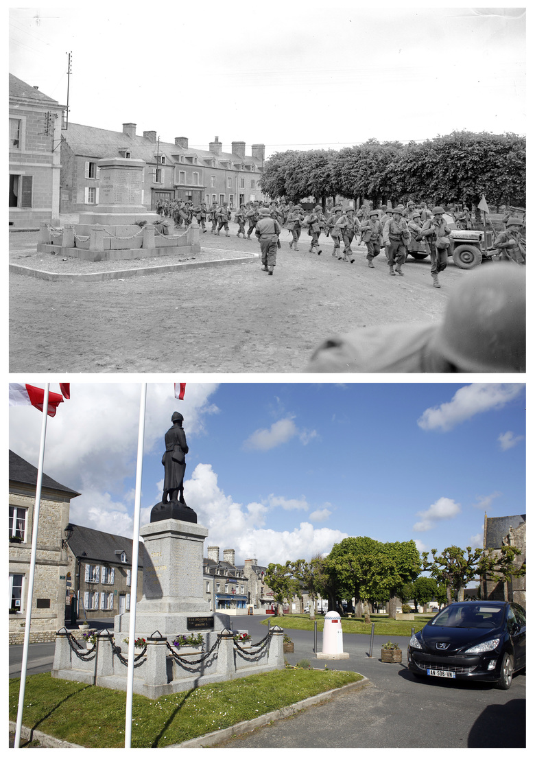 This combination of photos shows U.S. troops passing through the town of Sainte-Marie-du-Mont as they push forward in France, June 1944, top, and below, a view of the same locationon May 9, 2019. (AP Photo/Peter J. Carroll, Thibault Camus)