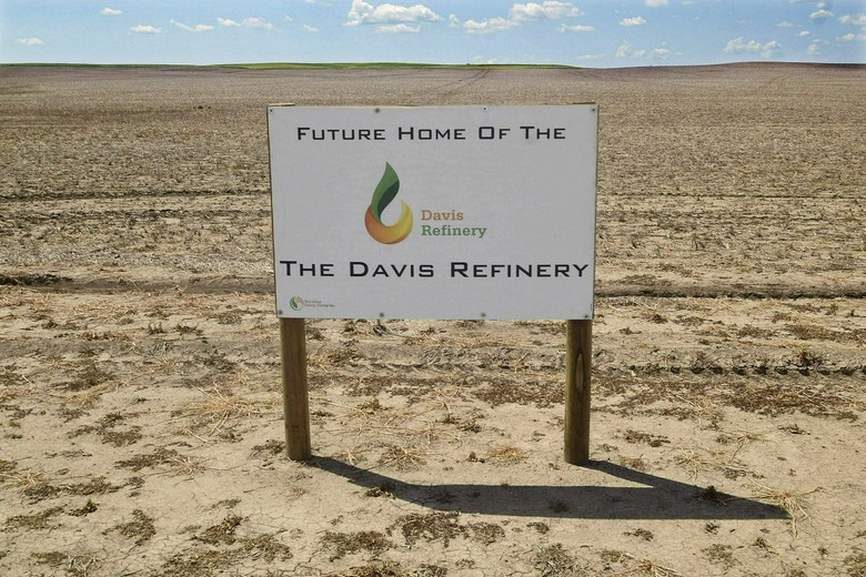 "FILE – This Thursday, July 19, 2018 file photo, shows the property, southwest of Belfield, N.D, the future home of The Davis Refinery near Theodore Roosevelt National Park. A state judge has ruled that North Dakota regulators properly refrained from becoming involved in a dispute over the location of an $800 million oil refinery being developed near Theodore Roosevelt National Park. Meridian Energy is building the Davis Refinery just 3 miles (5 kilometers) from the park. Environmental groups worry it will pollute the state's top tourist attraction. Meridian says the facility will be the ""cleanest refinery on the planet."" (Tom Stromme/The Bismarck Tribune via AP, File)"