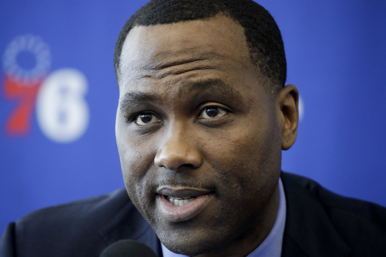 Philadelphia 76ers general manager Elton Brand speaks with members of the media during a news conference at the NBA basketball team's practice facility in Camden, N.J., Tuesday, May 14, 2019. (AP Photo/Matt Rourke)