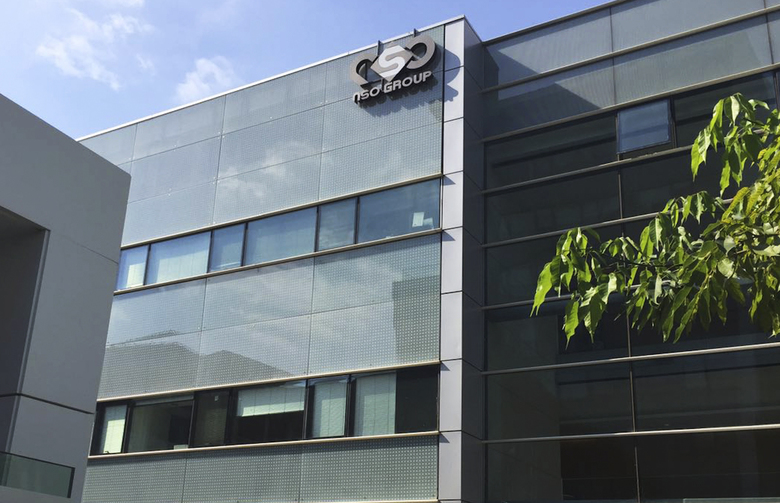 """FILE – This Thursday, Aug. 25, 2016 file photo shows the logo of the Israeli NSO Group company on a building where they had offices in Herzliya, Israel. Spyware crafted by a sophisticated group of hackers-for-hire took advantage of a flaw in the popular WhatsApp communications program to remotely hijack dozens of phones, the company said late Monday. The Financial Times identified the actor as Israel's NSO Group, and WhatsApp all but confirmed the identification, describing hackers as """"a private company that has been known to work with governments to deliver spyware.(AP Photo/Daniella Cheslow, File)"""