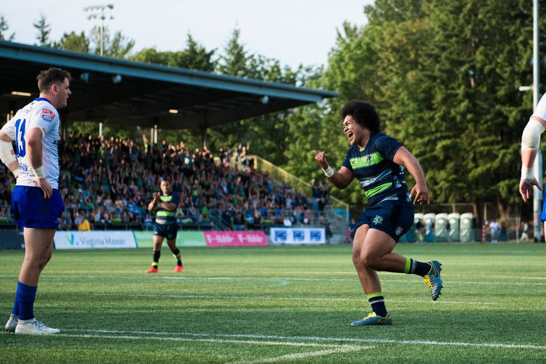 The Seawolves' Vili Toluta'u celebrates during a playoff game against Toronto on June 9 at Starfire Sports in Tukwila.  (Courtesy of Seawolves )