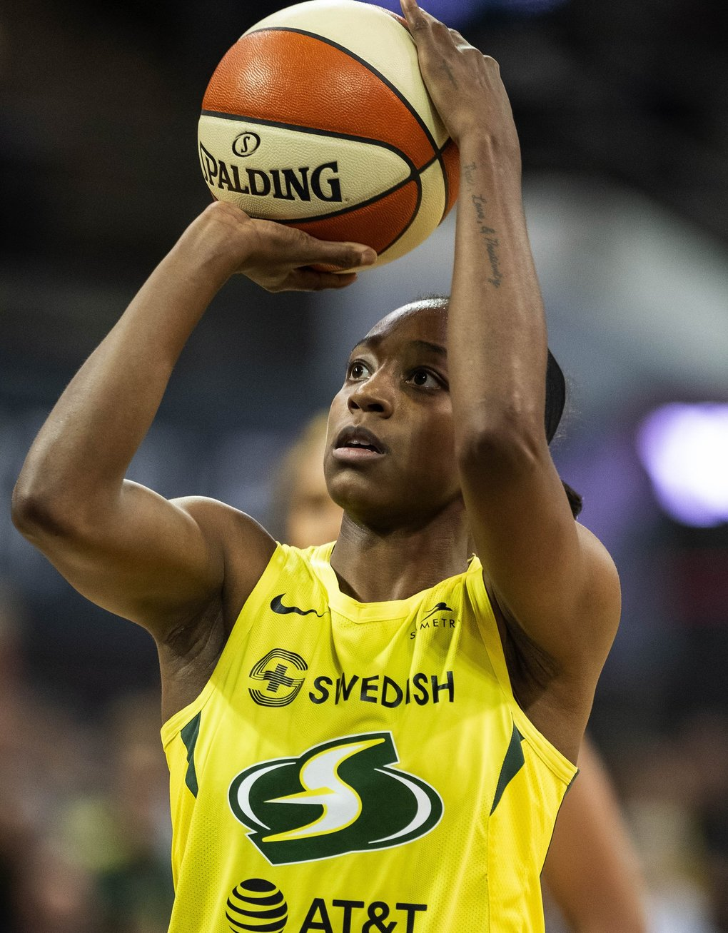Jewell Loyd had 21 points in the winning effort for Seattle.  The Indiana Fever played the Seattle Storm in WNBA action Sunday, June 23, 2019 at Alaska Airlines Arena in Seattle, WA. (Dean Rutz / The Seattle Times)