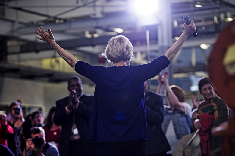 Supporters of Elizabeth Warren cheer after she speaks at Focus: Hope in Detroit, Mich., Tuesday, June 4, 2019.