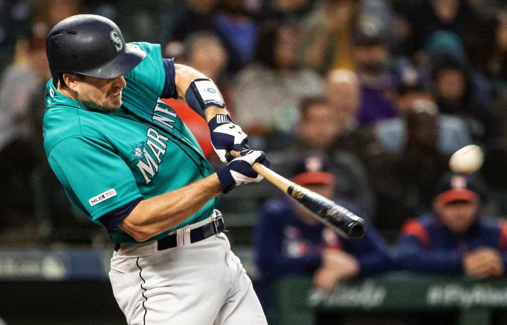 Tom Murphy's 2-run homer in the 6th gave Seattle a 6-1 lead over Houston. The Houston Astros played the Seattle Mariners Wednesday, June 5, 2019 at T-Mobile Park in Seattle. (Dean Rutz / The Seattle Times)