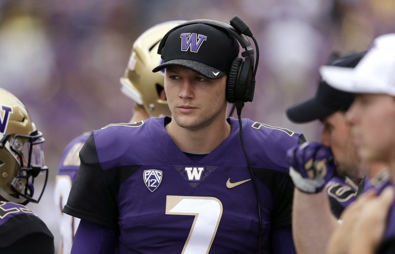 Washington quarterback Colson Yankoff stands on the sidelines against North Dakota in an NCAA college football game Saturday, Sept. 8, 2018, in Seattle. (AP Photo/Elaine Thompson) OTK