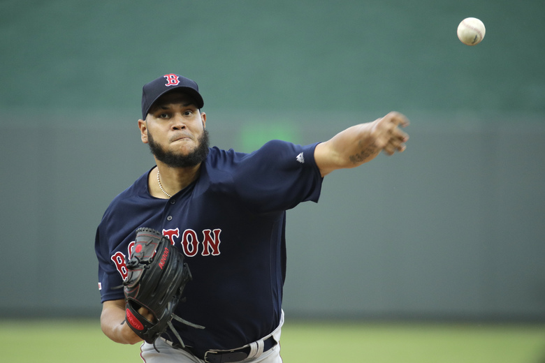 Boston Red Sox starting pitcher Eduardo Rodriguez throws during the first inning of a baseball game against the Kansas City Royals Tuesday, June 4, 2019, in Kansas City, Mo. (AP Photo/Charlie Riedel)
