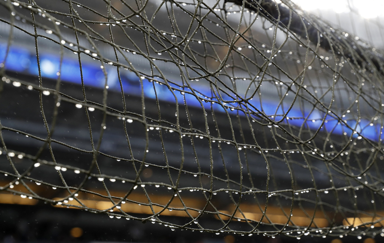 Netting designed to protect fans from foul balls at Yankee Stadium drips with water after a baseball game between the New York Yankees and the New York Mets was postponed due to inclement weather, Monday, June 10, 2019, in New York. (AP Photo/Kathy Willens)