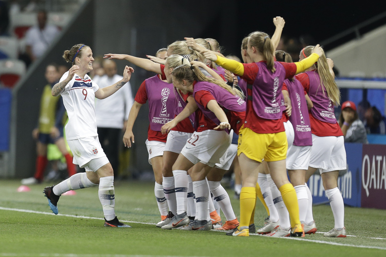 Norway's players celebrate after an own goal by France's Wendie Renard during the Women's World Cup Group A soccer match between France and Norway in Nice, France, Wednesday, June 12, 2019. (AP Photo/Claude Paris)