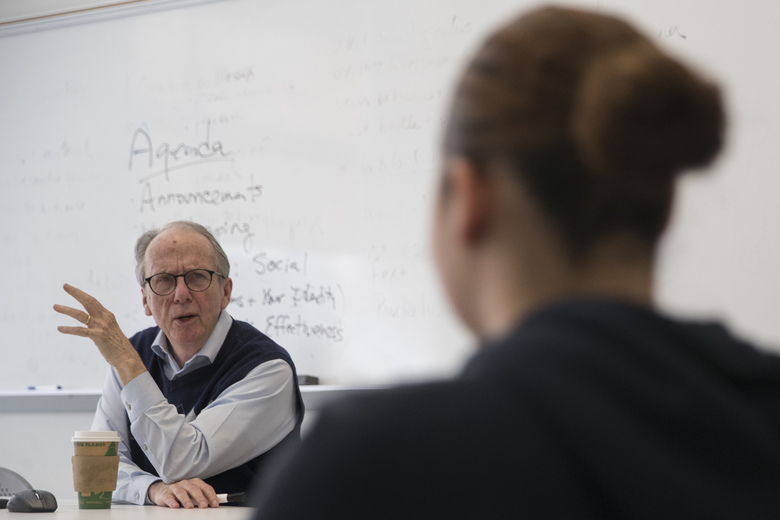 In this Tuesday, April 16, 2019, photo Steve Burghardt, a professor of social work at the City University of New York, teaches one of his classes at Hunter College's Silberman School of Social Work.  Seniors in major metropolitan areas, especially in big Northeastern cities and around Washington, D.C., are more likely to continue working past 65 than those in other areas around the country, according to an analysis of Census cata by The Associated Press and the NORC Center for Public Affairs Research(AP Photo/Mary Altaffer)