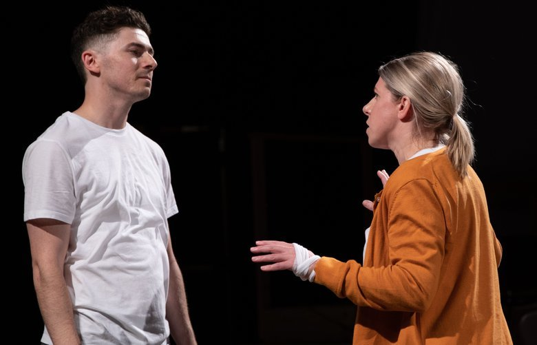 """Conner Neddersen as The Boy (left) and Sarah Harlett as Claire (right) in Intiman's """"The Events."""""""