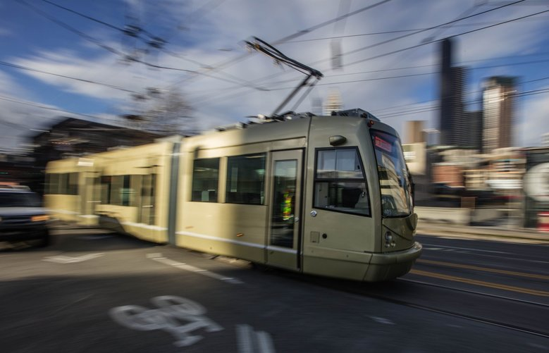Seattle's First Hill Streetcar travels near the end of the line in Pioneer Square on South Jackson Street. (Steve Ringman / The Seattle Times, 2016)