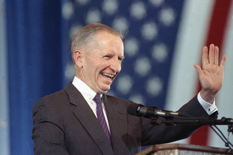 In this undated 1992 photo, businessman and U.S. presidential candidate H. Ross Perot, of Texas, waves. Perot, the Texas billionaire who twice ran for president, has died, a family spokesperson said Tuesday, July 9, 2019. He was 89.  (AP Photo/File)