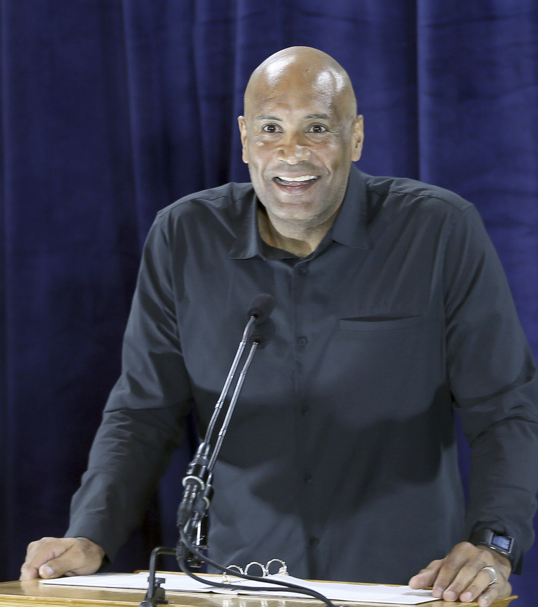FILE – In this Jan. 27, 2017, file photo, Cleveland Indians first base coach Sandy Alomar Jr., the MVP of the 1997 All-Star game in Cleveland, talks at a press conference about the 90th All-Star Game on July 9, 2019, at Progressive Field in Cleveland. (Chuck Crow/The Plain Dealer via AP, File)