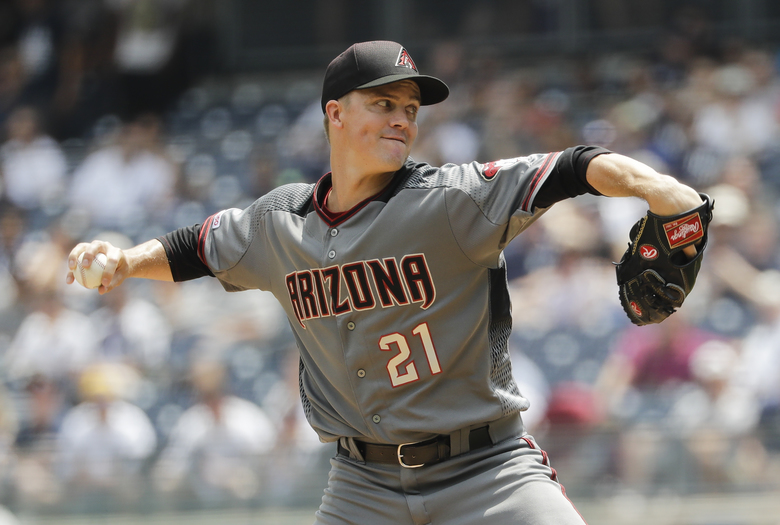 Arizona Diamondbacks' Zack Greinke delivers a pitch during the first inning of a baseball game against the New York Yankees Wednesday, July 31, 2019, in New York. (AP Photo/Frank Franklin II)