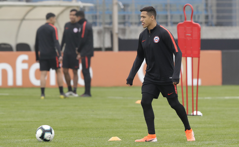 Chile's Alexis Sanchez attends a training session in Porto Alegre, Brazil, Tuesday, July 2, 2019. Chile will face Peru on July 3 in the semifinals for the Copa America. (AP Photo/Andre Penner)