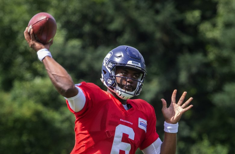 Seattle Seahawks' J.T. Barrett throws the ball during practice on Monday.   (Ellen M. Banner / The Seattle Times)