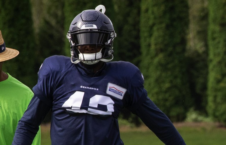 L – R Lano Hill, #42; Kalan Reed, #39 and Tre Flowers, #37 run drills during practice Monday, August 12, 2019.  The Seattle Seahawks practice in their eleventh day of training camp at the VMAC in Renton. 210913