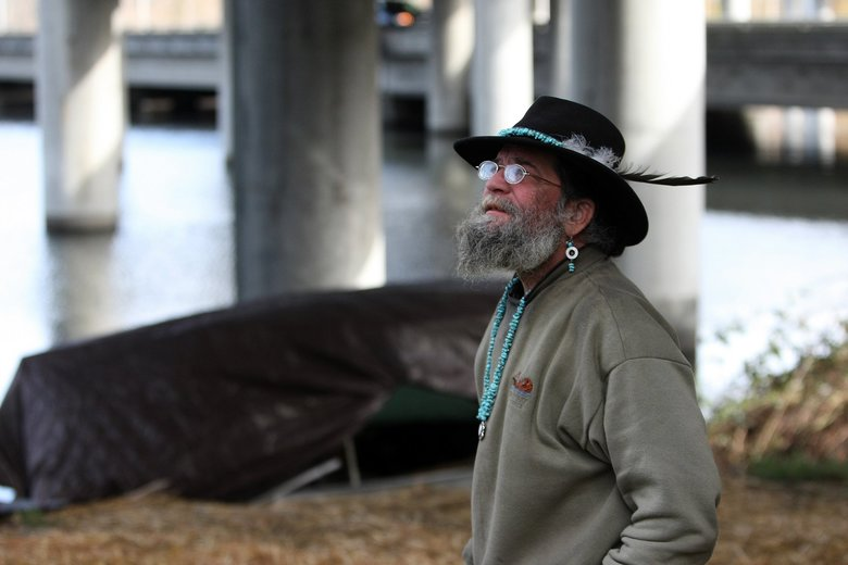 """I've got a lot of stuff. I didn't want to schlep it around like some tramp. I've got more dignity than that,"" Three Stars said about living on his rowboat in a 2011 interview. (Mark Harrison / The Seattle Times, 2011)"