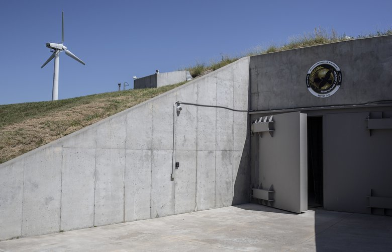 The entrance to the Survival Condo, a former nuclear missile vault that has been converted into high-end residences, in Glasco, Kansas, July 22, 2019. Personalized disaster prep has grown into a multimillion-dollar business, fueled by a seemingly endless stream of new and revamped threats. (Chet Strange/The New York Times) XNYT275