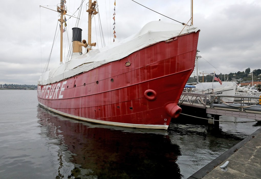 The lightship Swiftsure sits at a dock on the north side of the Museum of History and Industry. (Greg Gilbert / The Seattle Times)