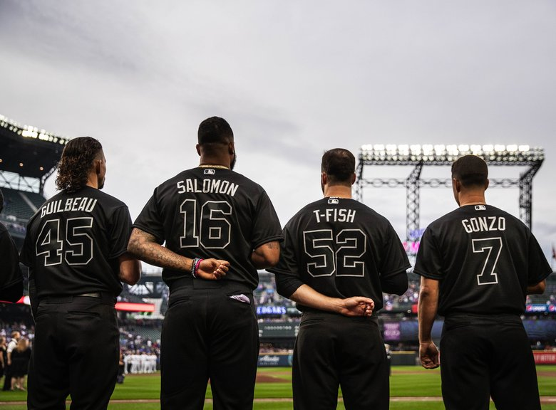 On Friday's uniform, instead of a player's given name, nicknames and symbols were allowed.  The Toronto Blue Jays played the Seattle Mariners Friday, August 23, 2019 at T-Mobile Park in Seattle, WA. (Dean Rutz / The Seattle Times)