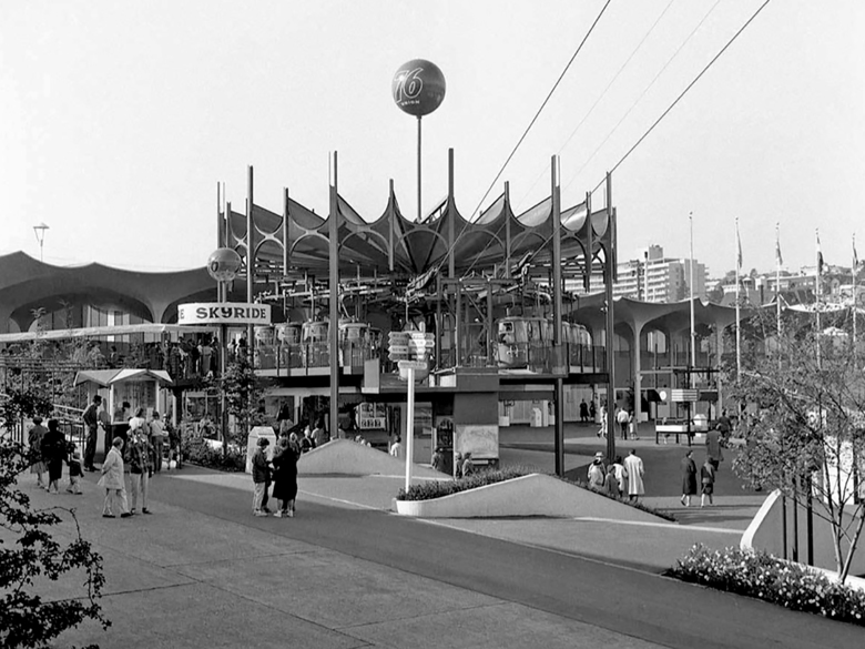 THEN: The spiny, orange, gazebo-like terminus of the Union 76 Skyride now can be found at the Washington State Fair in Puyallup, where it was moved in 1980. Today's Skyride trip runs $5, 10 times the 1962 fare. By comparison, a ride to the top of the Space Needle, $1 in 1962, today starts at $32.50. The Monorail offers the best deal of all, a mere $2.50 per ride, only five times the 1962 rate. (Paul Dorpat Collection)
