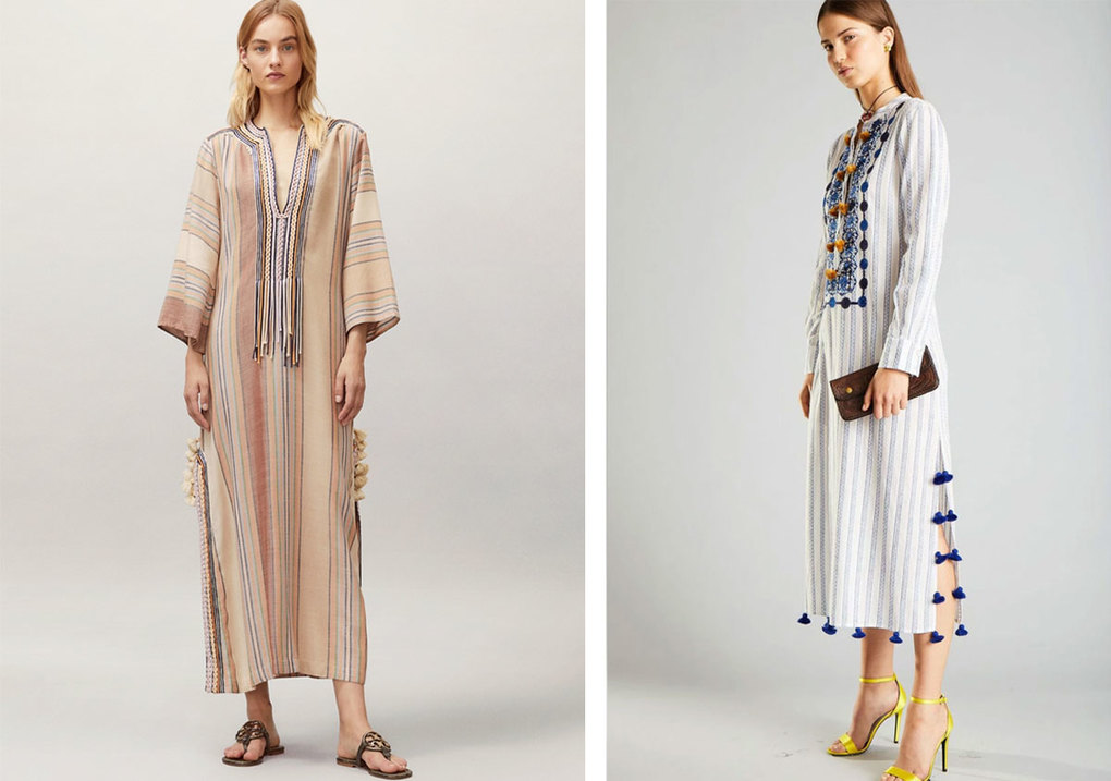 Caftans by Tory Burch (left) and Figue.