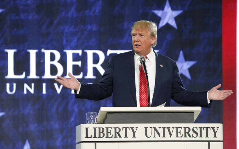 Then Republican presidential candidate Donald Trump gestures during a speech in 2016 at Liberty University, an evangelical Christian school in Lynchburg, Virginia. (AP Photo/Steve Helber, File)