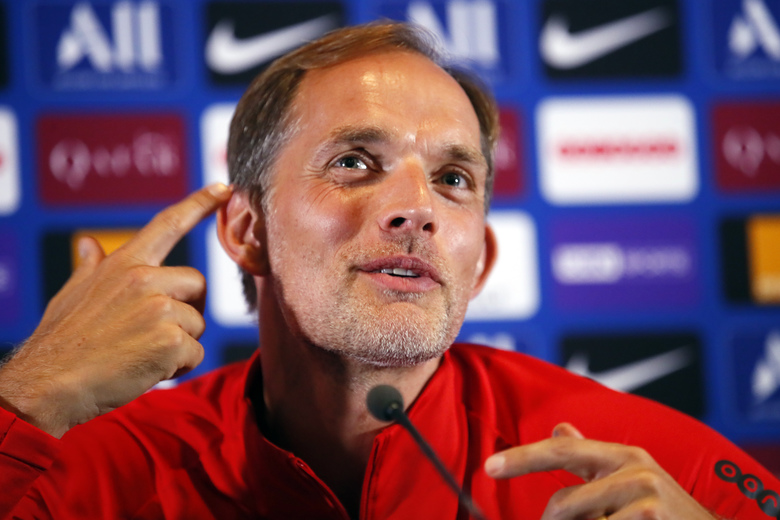 FILE – In this file photo dated Saturday, Aug. 10, 2019, PSG's head coach Thomas Tuchel attends a press conference after a training session at Camp des Loges in Saint Germain en Laye, outside Paris, France. Paris Saint-Germain coach Thomas Tuchel is already searching for answers Thursday Aug, 22, 2019, just two games into the league season. (AP Photo/Francois Mori, FILE)