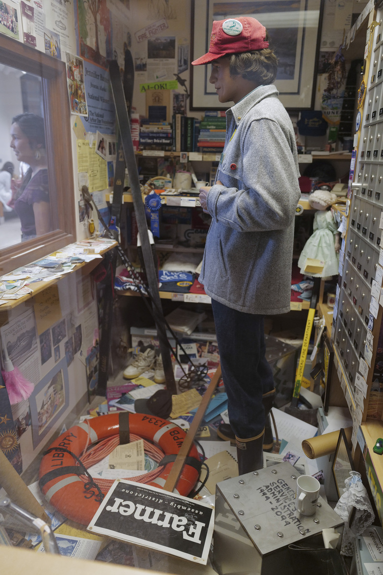 In this Friday, Aug. 9, 2019 Inside the 1994 Juneau Time Capsule at the Hurff Ackerman Saunders Federal Building in Juneau. Twenty-five year ago a janitors closet was turned into the Juneau Time Capsule. The capsule is set to be opened in 75 more years. (Michael Penn/Juneau Empire via AP)