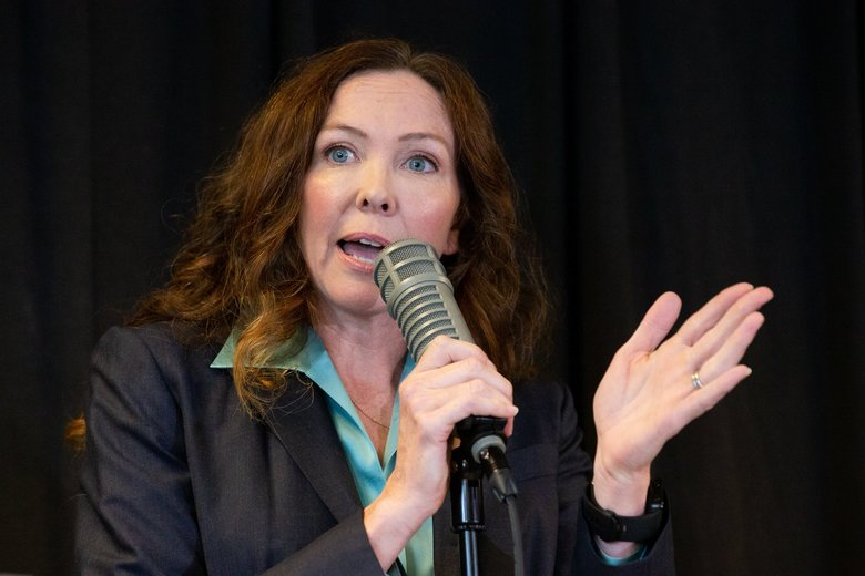 """I'm up here because we want to be heard and we want things to take place,"" said Ann Davison Sattler, Seattle City Council candidate, at the District 5 debate Saturday. ""We want action."" (Andy Bao / The Seattle Times)"