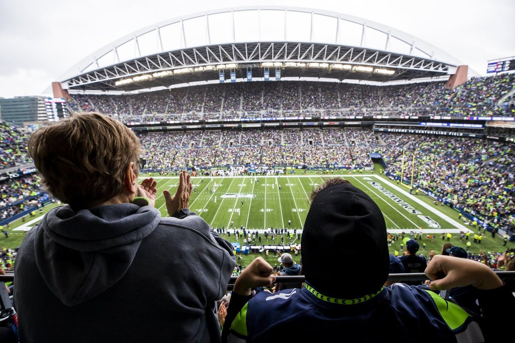 Fans watch the game from the upper deck as the Seattle Seahawks take on the New Orleans Saints at CenturyLink Field in Seattle Sunday September 22, 2019. (Andy Bao / The Seattle Times)