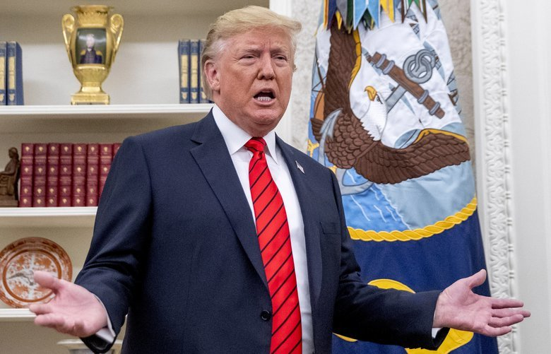 President Donald Trump speaks to member of the media as he departs a ceremonial swearing in ceremony for new Labor Secretary Eugene Scalia in the Oval Office of the White House in Washington, Monday, Sept. 30, 2019. (AP Photo/Andrew Harnik) DCAH109 DCAH109
