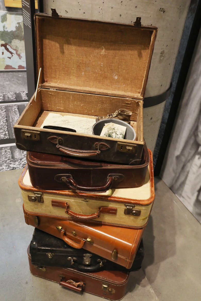 Suitcases are part of the exhibit at the Holocaust Center for Humanity. (Ken Lambert / The Seattle Times)