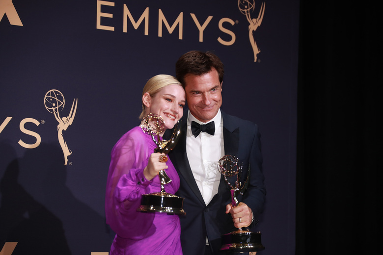 Julia Garner and Jason Bateman backstage at the 71st Primetime Emmy Awards at the Microsoft Theater in Los Angeles on Sunday, Sept. 22, 2019.