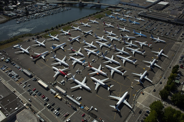 RENTON, WA – AUGUST 13: Boeing 737 MAX airplanes are seen parked on Boeing property along the Duwamish River near Boeing Field on August 13, 2019 in Seattle, Washington. (Photo by David Ryder/Getty Images) (Photographer: David Ryder/Getty Images North America)