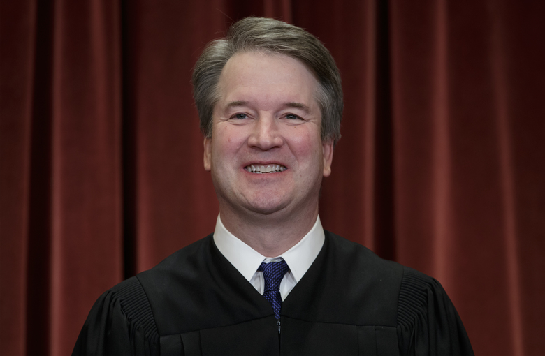 Associate Justice Brett Kavanaugh sits with fellow Supreme Court justices for a group portrait at the Supreme Court Building in Washington, D.C., in November 2018. (AP Photo / J. Scott Applewhite, File)