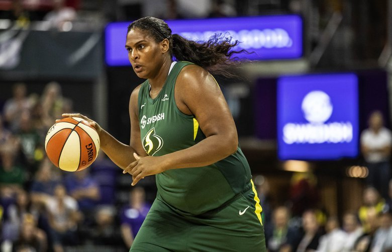 Courtney Paris had 3 points in just under 9-minutes played against Connecticut.  The Connecticut Sun played the Seattle Storm in WNBA basketball Tuesday, August 27, 2019 at Alaska Airlines Arena in Seattle, WA. 211325