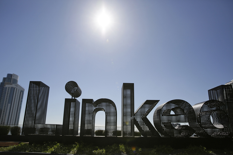 FILE – This Sept. 22, 2016, file photo shows a sculpture on a terrace outside the offices of LinkedIn in San Francisco. A federal appeals court has affirmed the right of a startup company to collect information from people's public profiles on networking service LinkedIn. The U.S. Court of Appeals for the Ninth Circuit in San Francisco upheld a previous ruling Monday, Sept. 9. 2019, siding with hiQ Labs, a San Francisco company that analyzes workforce data scraped from profiles. (AP Photo/Eric Risberg, File)