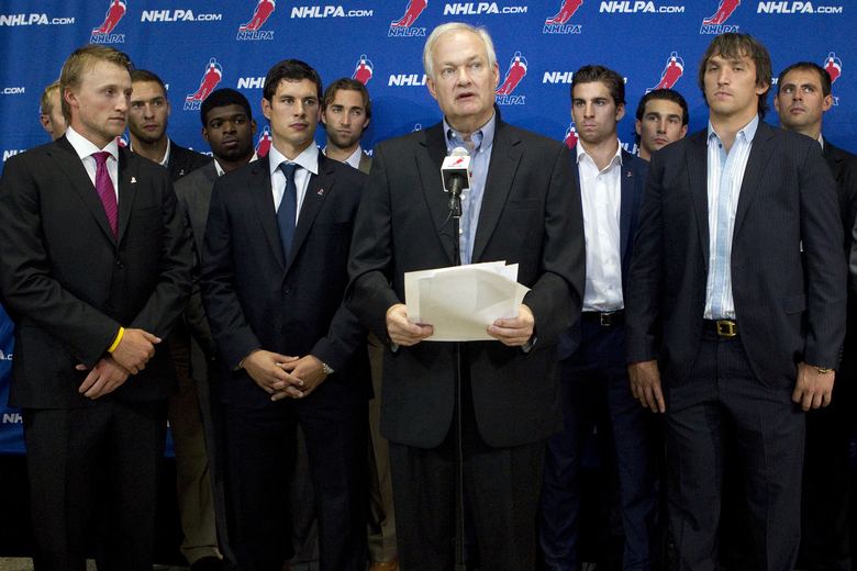 FILE – In this Aug. 14, 2012, file photo, Donald Fehr, center, executive director of the National Hockey League Players' Association, stands with NHL hockey players including Tampa Bay Lightning's Steven Stamkos, left, Pittsburgh Penguins' Sidney Crosby, second from left, and Washington Capitals' Alex Ovechkin, right, as they speak with reporters following collective bargaining talks in Toronto. The NHLPA announces its decision whether to terminate the current collective bargaining agreement and set the clock ticking toward another potential work stoppage in 2020. (AP Photo/The Canadian Press, Chris Young, File)