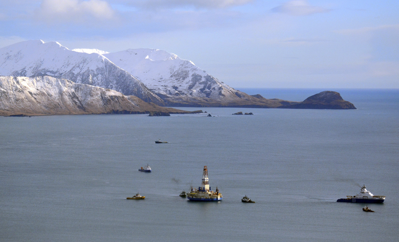 FILE – This Jan. 7, 2013 file photo shows the floating drill rig Kulluk in Kodiak Island, Alaska's Kiliuda Bay as salvage teams conduct an in-depth assessment of its seaworthiness. The House has approved legislation that would permanently bar drilling off the Atlantic and Pacific coasts and extend a moratorium on drilling off Florida's west coast (James Brooks/Kodiak Daily Mirror via AP, File)/