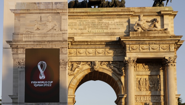 The Qatar 2022 World Cup logo, left, is displayed at the Arch of Peace, on the occasion of its worldwide launch, in Milan, Italy, Tuesday, Sept. 3, 2019. (AP Photo/Luca Bruno)