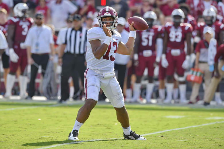 Alabama's during the first half of an NCAA college football game against South Carolina Saturday, Sept. 14, 2019, in Columbia, S.C. (AP Photo/Richard Shiro)