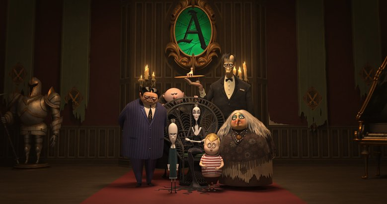 """""""The Addams Family"""" features, from left, Gomez Addams (Oscar Isaac), Wednesday (Chloë Grace Moretz), Uncle Fester (Nick Kroll), Morticia (Charlize Theron), Pugsley (Finn Wolfhard), Lurch (Conrad Vernon) and Grandma (Bette Midler). (Metro Goldwyn Mayer Pictures)"""